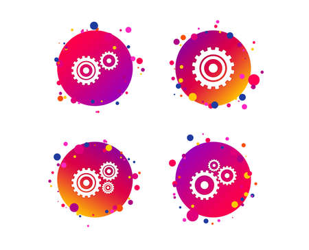 Cogwheel gear icons. Mechanism symbol. Website or App settings sign. Working process performance. Gradient circle buttons with icons. Random dots design. Vector Illustration