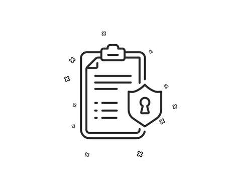 Checklist line icon. Privacy policy document sign. Geometric shapes. Random cross elements. Linear Privacy policy icon design. Vector