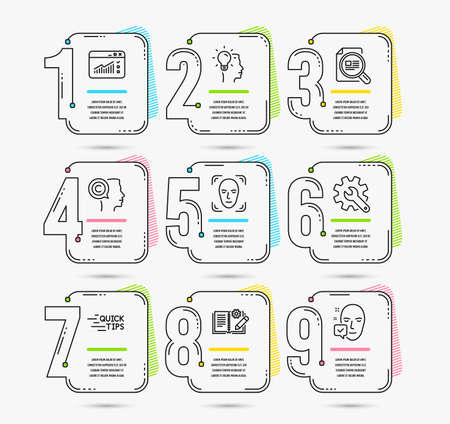 Infographic template with numbers 9 options. Set of Education, Face detection and Customisation icons. Check article, Engineering documentation and Idea signs. Vector