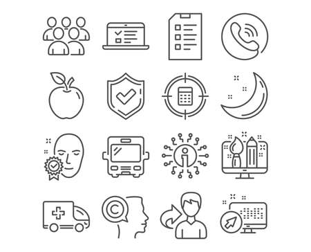 Set of Face verified, Group and Creative design icons. Ambulance emergency, Writer and Bus signs. Web lectures, Calculator target and Checklist symbols. Access granted, Developers, Designer. Vector Ilustracja
