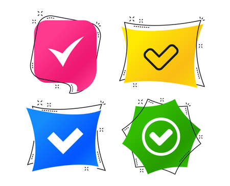 Check icons. Checkbox confirm circle sign symbols. Geometric colorful tags. Banners with flat icons. Trendy design. Vector Ilustração