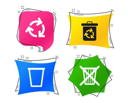 Recycle bin icons. Reuse or reduce symbols. Trash can and recycling signs. Geometric colorful tags. Banners with flat icons. Trendy design. Vector Illustration