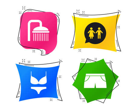 Swimming pool icons. Shower water drops and swimwear symbols. WC Toilet speech bubble sign. Trunks and women underwear. Geometric colorful tags. Banners with flat icons. Trendy design. Vector Ilustração