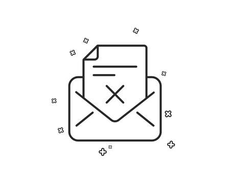 Reject letter line icon. Delete mail sign. Decline message. Geometric shapes. Random cross elements. Linear Reject letter icon design. Vector Foto de archivo - 124722248