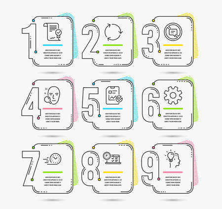 Infographic template with numbers 9 options. Set of Online test, Approved agreement and Service icons. Recycling, Fast delivery and Stop talking signs. Face search, Report checklist and Idea symbols Иллюстрация