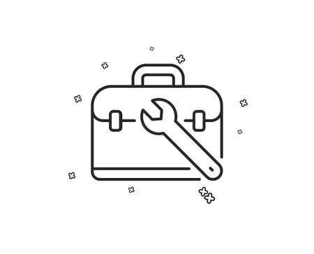 Spanner tool line icon. Repair tool case sign. Fix instruments symbol. Geometric shapes. Random cross elements. Linear Tool case icon design. Vector