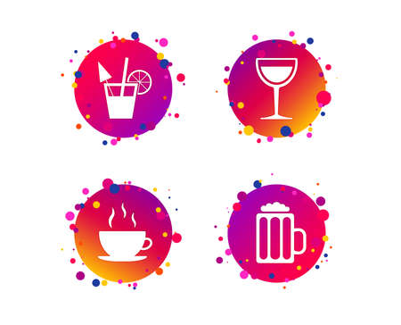 Drinks icons. Coffee cup and glass of beer symbols. Wine glass and cocktail signs. Gradient circle buttons with icons. Random dots design. Vector Illustration