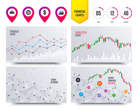 Financial planning charts. Business icons. Graph chart and globe signs. Dollar currency and group of people symbols. Cryptocurrency stock market graphs icons. Trendy design. Vector  イラスト・ベクター素材