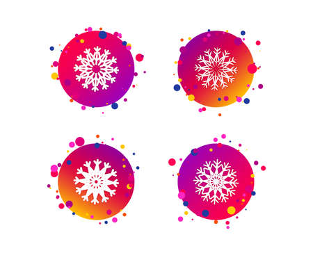 Snowflakes artistic icons. Air conditioning signs. Christmas and New year winter symbols. Frozen weather. Gradient circle buttons with icons. Random dots design. Vector Ilustração