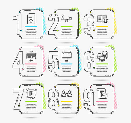 Infographic template with numbers 9 options. Set of Tips, Communication and Road banner icons. Facts, Balance and Parking signs. Credit card, Upload file and Mail letter symbols. Vector Ilustração