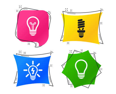 Light lamp icons. Fluorescent lamp bulb symbols. Energy saving. Idea and success sign. Geometric colorful tags. Banners with flat icons. Trendy design. Vector Иллюстрация