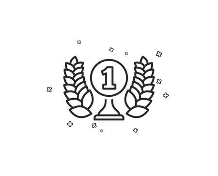 Laureate award line icon. Winner prize symbol. Prize with Laurel wreath sign. Geometric shapes. Random cross elements. Linear Laureate award icon design. Vector Ilustrace