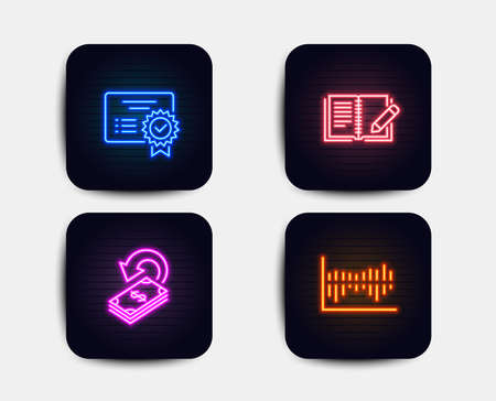 Neon glow lights. Set of Certificate, Feedback and Cashback icons. Column diagram sign. Verified document, Book with pencil, Financial transfer. Sale statistics.  Neon icons. Glowing light banners