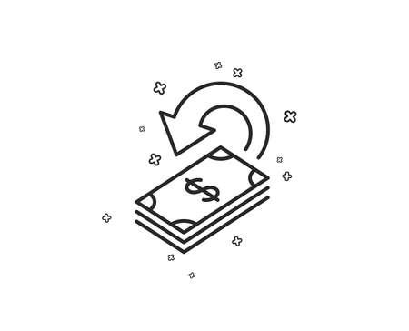 Cashback line icon. Dollar payment sign. Finance symbol. Geometric shapes. Random cross elements. Linear Cashback icon design. Vector