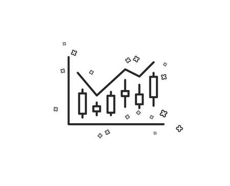 Candlestick chart line icon. Financial graph sign. Stock exchange symbol. Business investment. Geometric shapes. Random cross elements. Linear Financial diagram icon design. Vector