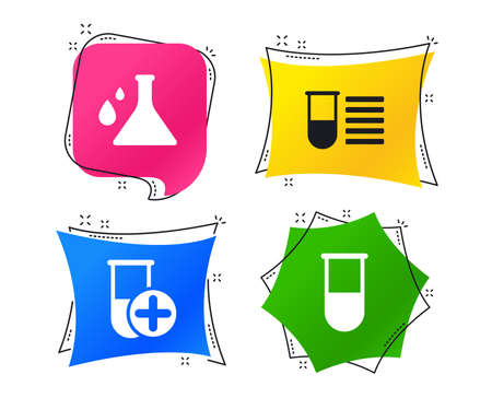 Chemistry bulb with drops icon. Medical test signs. Laboratory equipment symbols. Geometric colorful tags. Banners with flat icons. Trendy design. Vector