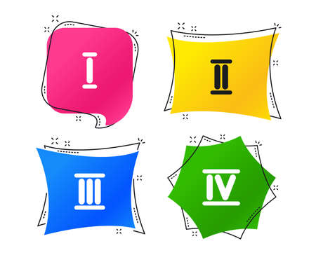 Roman numeral icons. 1, 2, 3 and 4 digit characters. Ancient Rome numeric system. Geometric colorful tags. Banners with flat icons. Trendy design. Vector Illustration