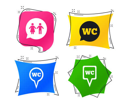 WC Toilet pointer icons. Gents and ladies room signs. Man and woman speech bubble symbols. Geometric colorful tags. Banners with flat icons. Trendy design. Vector