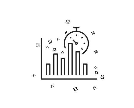 Report timer line icon. Column graph sign. Growth diagram chart symbol. Geometric shapes. Random cross elements. Linear Report timer icon design. Vector