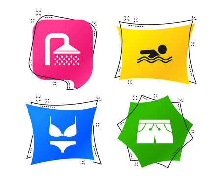 Swimming pool icons. Shower water drops and swimwear symbols. Human swims in sea waves sign. Trunks and women underwear. Geometric colorful tags. Banners with flat icons. Trendy design. Vector