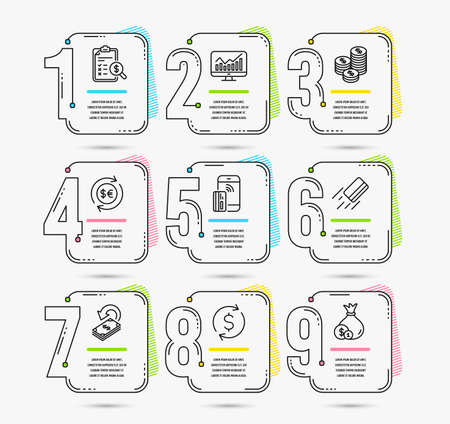 Infographic template with numbers 9 options. Set of Coins, Money currency and Cashback icons. Accounting report, Dollar exchange and Statistics signs. Credit card, Contactless payment and Cash symbols