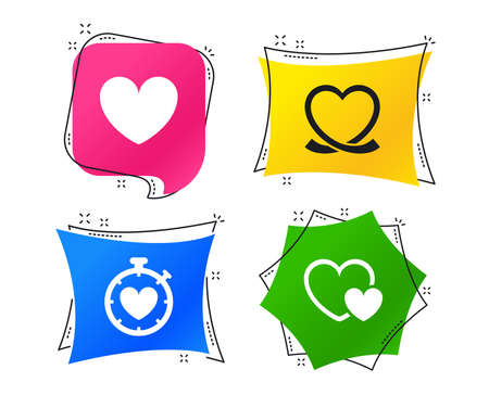 Heart ribbon icon. Timer stopwatch symbol. Love and Heartbeat palpitation signs. Geometric colorful tags. Banners with flat icons. Trendy design. Vector