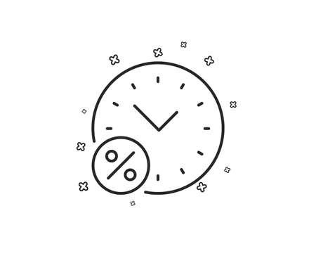 Loan time percent line icon. Discount sign. Credit percentage symbol. Geometric shapes. Random cross elements. Linear Loan percent icon design. Vector