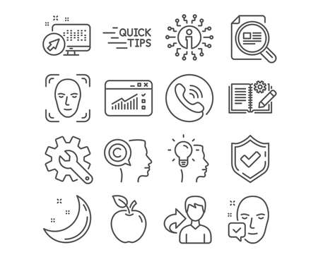 Set of Education, Face detection and Customisation icons. Check article, Engineering documentation and Idea signs. Writer, Web traffic and Face accepted symbols. Quick tips, Detect person, Settings Ilustracja