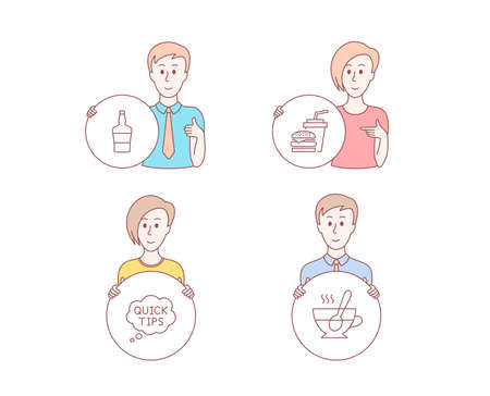 People hand drawn style. Set of Quick tips, bottle and Hamburger icons. Tea cup sign. Helpful tricks, Brandy alcohol, Burger with drink. Coffee with spoon.  Character hold circle button