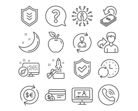 Set of Money currency, Question mark and Shield icons. Payment method, Innovation and Person info signs. Online video, Cashback and Update time symbols. Vector Illustration