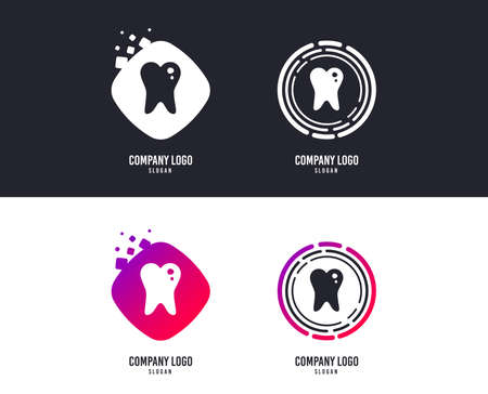 Caries tooth icon. Tooth filling sign. Dental care symbol.  Colorful buttons with icons. Vector  イラスト・ベクター素材