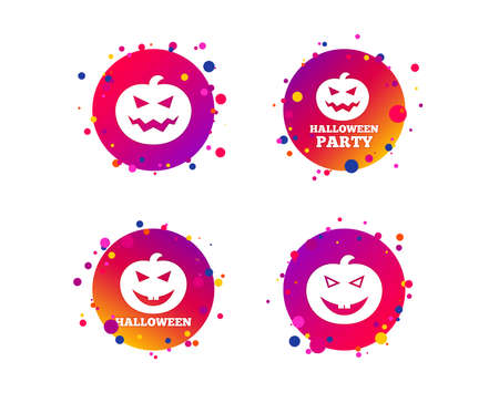 Halloween pumpkin icons. Halloween party sign symbol. All Hallows Day celebration. Gradient circle buttons with icons. Random dots design. Vector