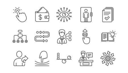 Artificial intelligence, Balance and Refer friend line icons. Timeline path, Cash wallet. Linear icon set.  Vector  イラスト・ベクター素材