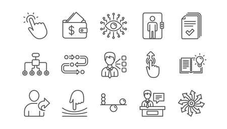 Künstliche Intelligenz, Balance und Freundschaftsliniensymbole verweisen. Zeitachsenpfad, Geldbörse. Linearer Symbolsatz. Vektor Vektorgrafik