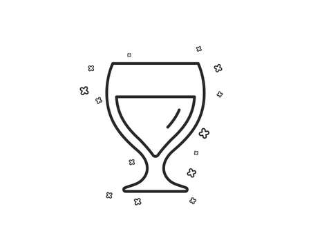 Wine glass line icon. Alcohol drink sign. Beverage symbol. Geometric shapes. Random cross elements. Linear Wine glass icon design. Vector