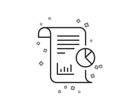 Report line icon. Business management sign. Company statistics symbol. Geometric shapes. Random cross elements. Linear Report icon design. Vector