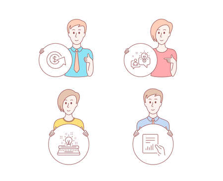 People hand drawn style. Set of Dollar exchange, Idea and Typewriter icons. Document sign. Money refund, Solution, Inspiration. File with diagram.  Character hold circle button. Man with like hand Illustration