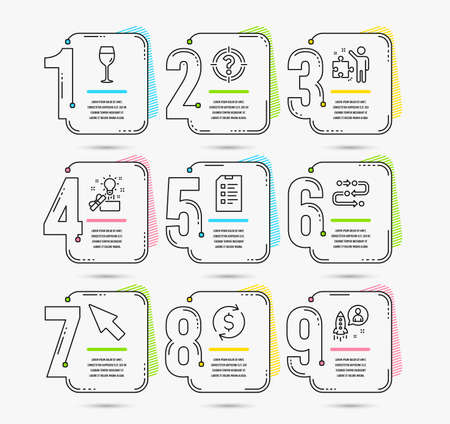 Infographic template with numbers 9 options. Set of Dollar exchange, Mouse cursor and Headhunter icons. Methodology, Checklist and Strategy signs. Wine glass, Creative idea and Startup symbols