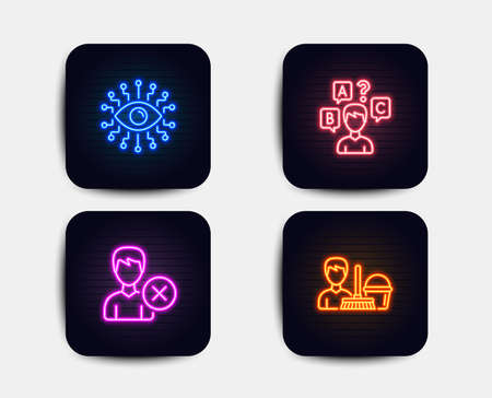 Neon glow lights. Set of Artificial intelligence, Quiz test and Remove account icons. Cleaning service sign. All-seeing eye, Interview, Delete user. Bucket with mop.  Neon icons. Glowing light banners
