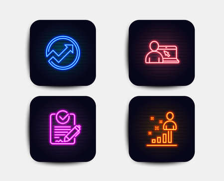 Neon glow lights. Set of Online education, Rfp and Audit icons. Stats sign. Internet lectures, Request for proposal, Arrow graph. Business analysis.  Neon icons. Glowing light banners. Vector