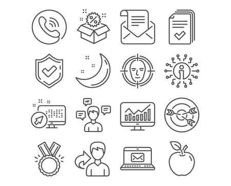 Set of Handout, Conversation messages and Targeting icons. Honor, Statistics and E-mail signs. Mail newsletter, Sale and Face detect symbols. Documents example, Communication, Target with arrows Illustration