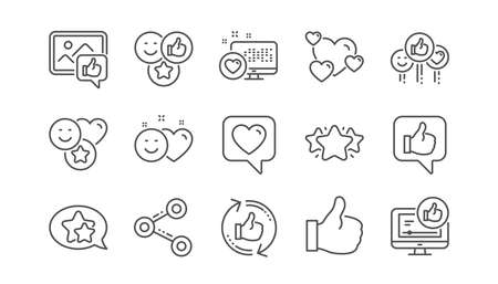 Social media line icons. Share network, Like thumbs up and Rating. Feedback smile linear icon set.  Vector