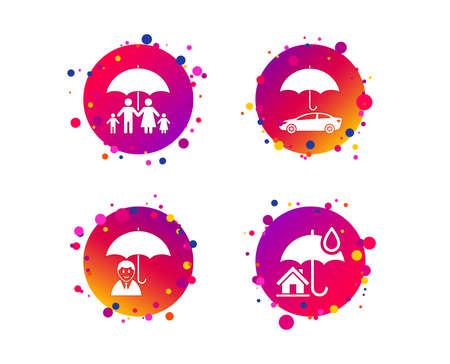 Family, Real estate or Home insurance icons. Life insurance and umbrella symbols. Car protection sign. Gradient circle buttons with icons. Random dots design. Vector