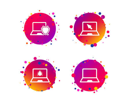 Notebook laptop pc icons. Virus or software bug signs. Shield protection symbol. Mouse cursor pointer. Gradient circle buttons with icons. Random dots design. Vector