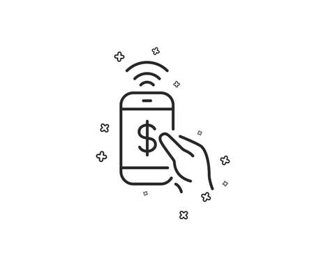 Phone Payment line icon. Dollar pay sign. Finance symbol. Geometric shapes. Random cross elements. Linear Phone payment icon design. Vector  イラスト・ベクター素材