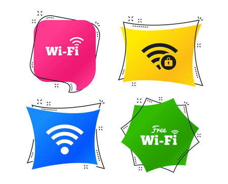 Free Wifi Wireless Network icons. Wifi zone locked symbols. Password protected Wifi sign. Geometric colorful tags. Banners with flat icons. Trendy design. Vector Vettoriali