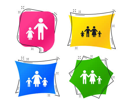 Family with two children icon. Parents and kids symbols. One-parent family signs. Mother and father divorce. Geometric colorful tags. Banners with flat icons. Trendy design. Vector Illustration