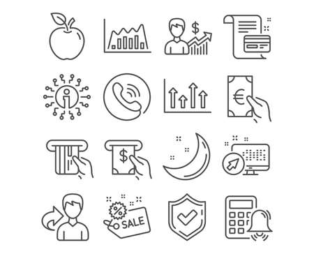Set of Business growth, Calculator alarm and Atm service icons. Upper arrows, Infographic graph and Sale signs. Finance, Payment card and Credit card symbols. Vector