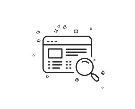 Website search line icon. Find internet page results sign. Geometric shapes. Random cross elements. Linear Website search icon design. Vector