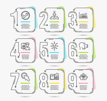Infographic template with numbers 9 options. Set of Click here, Infographic graph and Face id icons. Audit, Presentation and Instruction info signs. Face biometrics, Management and Quick tips symbols